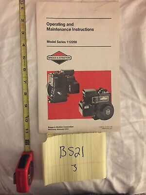 Briggs & Stratton Engine Owner's Manual I/C Model 112200 Operating Instruction