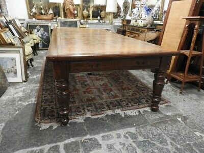 Original Antique Large Table Meetings English London 1870 Level in Leather