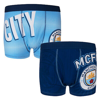 Manchester City FC Official Football Gift 2 PAIR Pk Mens Crest Boxer Shorts