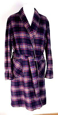 "VINTAGE DRESSING GOWN 70s blue multi thick tartan & tie belt McGregor S 36"" Ch"