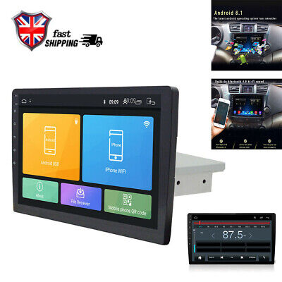 10.1Inch 1-Din Android 8.1 Car Stereo Radio GPS WiFi BT DAB Mirror Link OBD UK