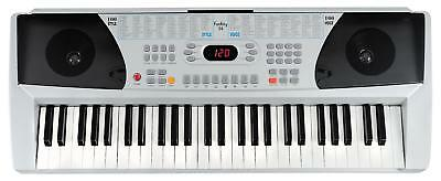 Digital Keyboard 54-Tasten E-Piano Klavier Sound Rhythmen Lernfunktion silber