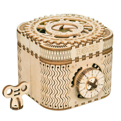 ROKR Treasure Box 3D Puzzle Mechanical Wooden Toy DIY Crafts Gift for Men Boys