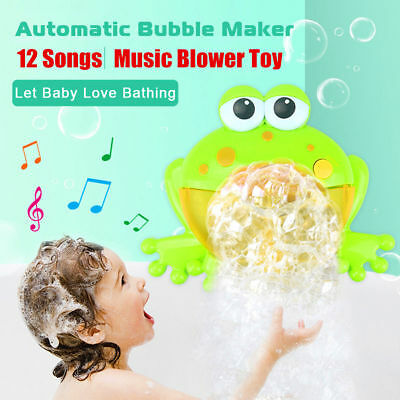 Kid Baby Bubble Tub Frog Automatic Shower Music Machine Blower Maker Bath Toys