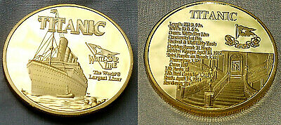 Titanic Gold Grand Stair Case Coin Atlantic Ocean Worlds Largest Liner Ship Boat