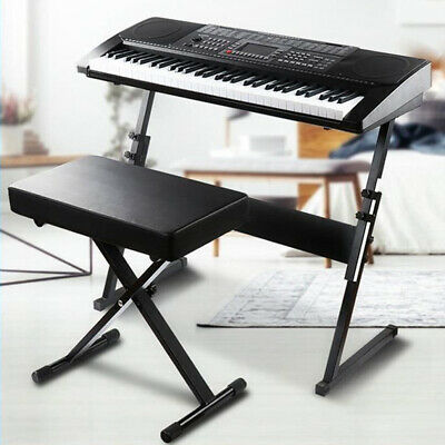 Keyboard Piano Bench Stool Soft Drum Throne Black Seat Padded Adjustable Height