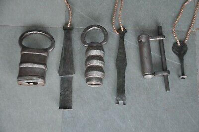 3 Pc Old Iron Handcrafted Unique Different Shape Solid Strip System Padlocks