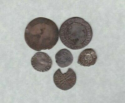 Six Hammered Silver Coins In A Well Used Condition