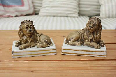 RARE PAIR EARLY 19thC WOOD & CALDWELL PEARLWARE STAFFORDSHIRE POTTERY LIONS