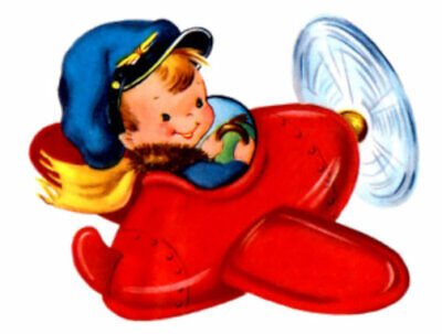 Vintage Image Retro Pilot Boy In Airplane Transfers Waterslide Decals KID458