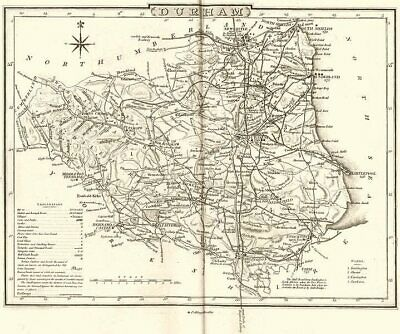 DURHAM. County map. Polling places. Coach roads. DUGDALE 1845 old antique