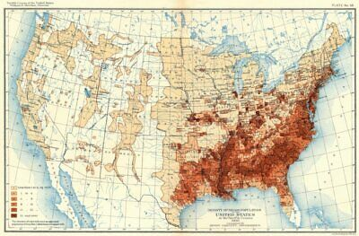 USA. Density of Negro population US at 12th census  1900 old antique map chart