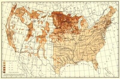 USA. Proportion of Scandinavians to total, population.  1900 old antique map