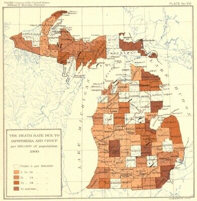 USA. Death rate due Diphtheria Croup per 100, 000 population  1900 old map