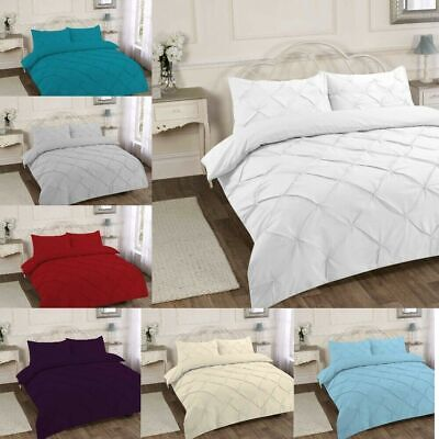 Pintuck Luxury Duvet Cover Quilted Bedding Set - Single Double King Super King