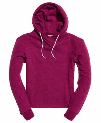 New Womens Superdry Orange Label Luxe Edition Cropped Hoodie Winter Pink Jaspe