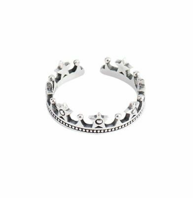 Women Girl Open Crown Unique Ring S925 Stamped Sterling Silver Band Gift Box