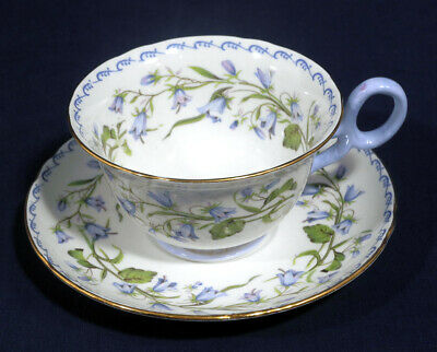 Shelley Fine Bone China Harebell Tea Cup and + Saucer Set with Gold Trim