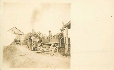 c1910 Steam Engine Tractor Farm Agriculture Worker Wagon RPPC Photo Postcard