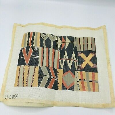 Hand Painted Needlepoint Pattern Abstract Geometric Mid Century Danish Pillow