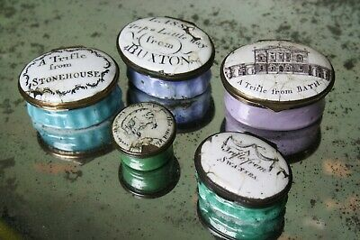 Collection of George III Enamel Patch Boxes Bilston Battersea Antique Curio