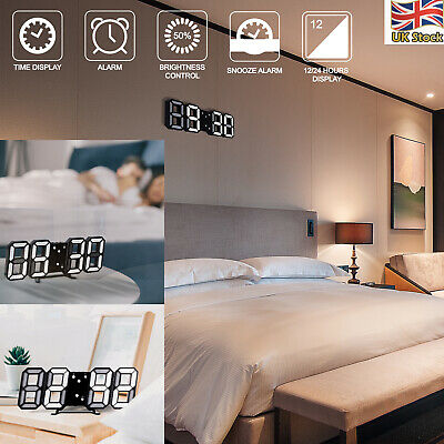 3D LED Digital Clock Table Wall Clock Electronic Alarm Display Dimmer Modern USB