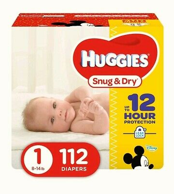 Huggies Snug and Dry 43128 Size 1 Disposable Diapers - 112 Count