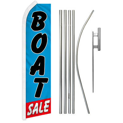 BOAT SALE Dealer Yacht Broker Swooper Banner Feather Curved Top Flutter Flag