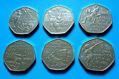 2019 Isle of Man Peter Pan Six 50p Coin Set Brand New in Plastic Sleeves.