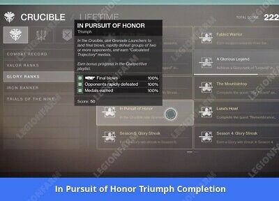 Destiny 2 - MountainTop  2 Hours   ( ONLY TRIUMPH ) XBOXONE Safe And Guaranteed