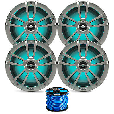 "4 Marine Infinity 6.5"" Coaxial 225 Watt Speakers, 50 Feet Enrock Speaker Wire."