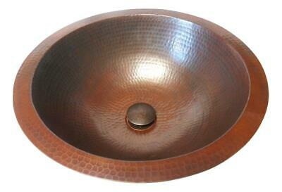 "15"" Round Copper Bath Sink Drop In or Under Mount Pop-Up Drain Included"