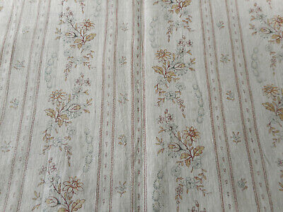 Antique French Garland Floral Stripe Cotton Fabric ~ Soft Blue Brown Lavender
