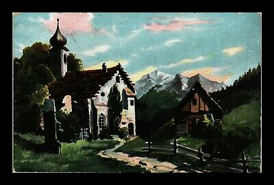 Dr Jim Stamps Us Church Cottage Signed Art View Postcard 1906