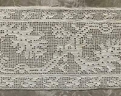 RARE 16th/17th CENTURY ITALIAN LINEN CUTWORK DRAWN THREAD EMBROIDERY GRAPES 280