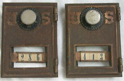 2 Vintage Brass US Post Office Box Combination Doors w Glass & Frames