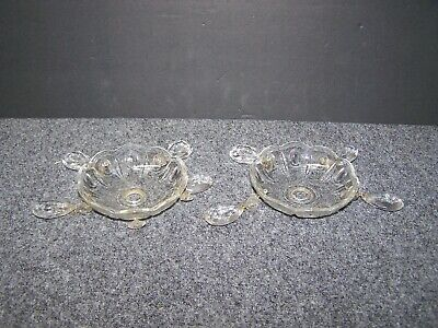 2 Vintage Crystal Clear Glass Chandelier Bobeche 3 7/8 Inches 1 Prism Missing