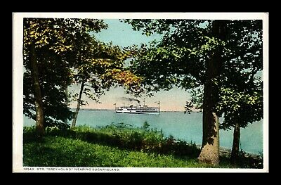 Dr Jim Stamps Us Steamship Greyhound Sugar Island Postcard