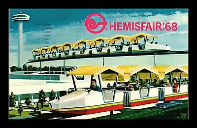 Dr Jim Stamps Us Hemisfair Mini Monorail San Antonio Texas Postcard 1968