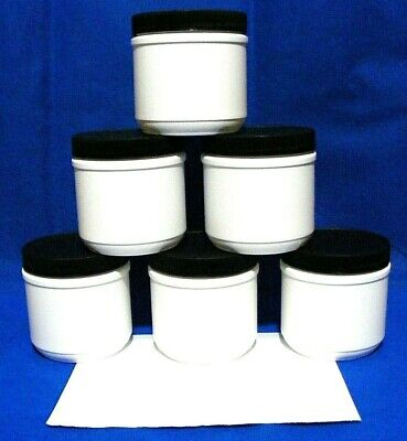 6 new wide mouth 16 oz HDPE white PLASTIC JARS w/ lined black lids +labels 500mL