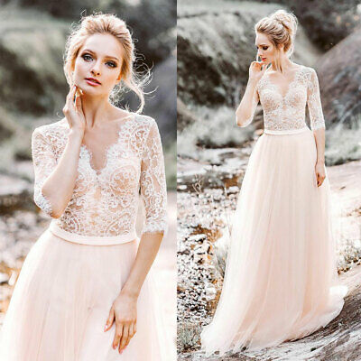 Blush Pink Beach Wedding Dress A Line Half Sleeves Lace Tull Bridal Gown V Neck