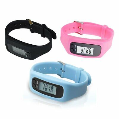 Pedometer Sports Monitor Running Exercising Step Counter Silicone Wristband NA