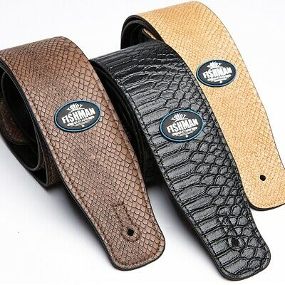 Adjustable PU Leather Embossed Snake Acoustic Electric Bass Tan Guitar Straps