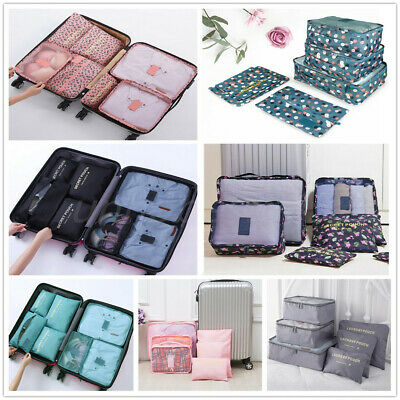 7 Set Packing Cubes Travel Luggage Organizer Bags Waterproof Pouch High Quality