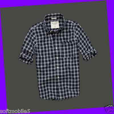 Abercrombie & Fitch SMALL S Mens East River Trail Shirt NAVY & WHITE CHECKERED
