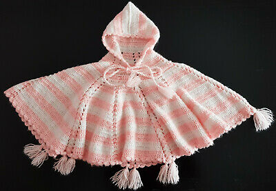 VINTAGE, 1970's - 80's LITTLE GIRL'S PINK CROCHET PONCHO - EXCELLENT CONDITION