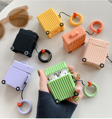For AirPods Charging Protective Case Fashion Cute Creative Luggage Silicone 2019