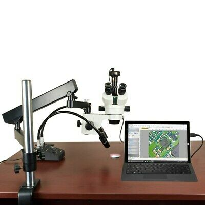 7X-45X Zoom Stereo Articulating Boom Stand Microscope+6W LED Light+2MP Camera