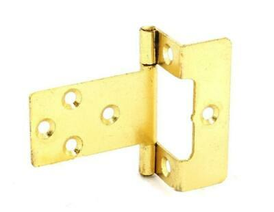 Pair of Brass Plated Cranked Flush Hinges 50mm including Screws