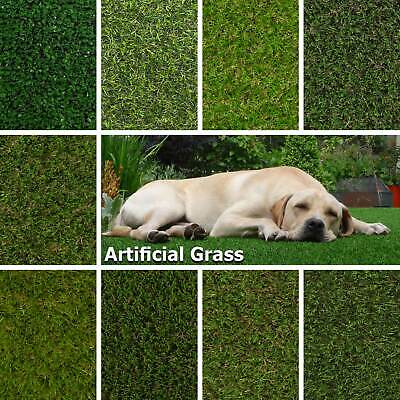 Artificial Grass, Quality Realistic Astro Turf Garden Fake Lawn Natural Green